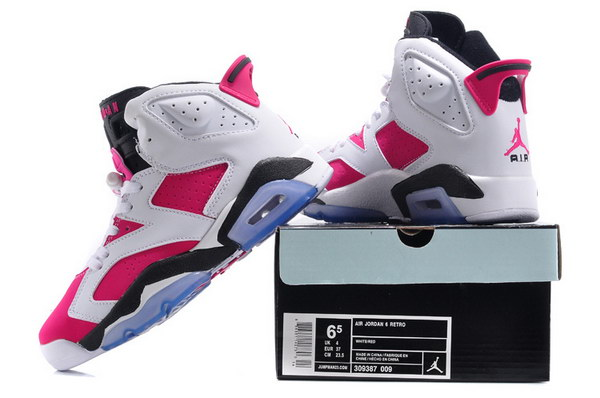Air Jordan 6 For Women Shoes Pink/white black
